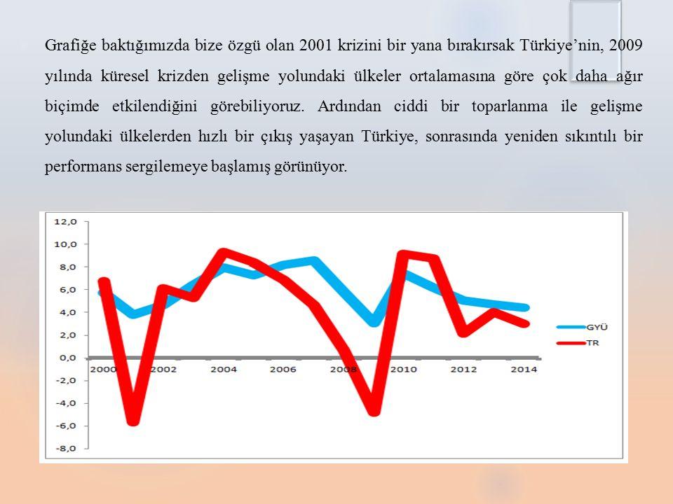  Grafiğe baktığımızda bize özgü olan 2001 krizini bir yana bırakırsak Türkiye'nin, 2009 yılında küresel krizden gelişme yolundaki ülkeler ortalamasına göre çok daha ağır biçimde etkilendiğini görebiliyoruz.