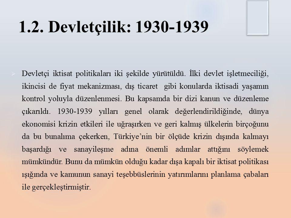 1.2.Devletçilik: 1930-1939  Devletçi iktisat politikaları iki şekilde yürütüldü.