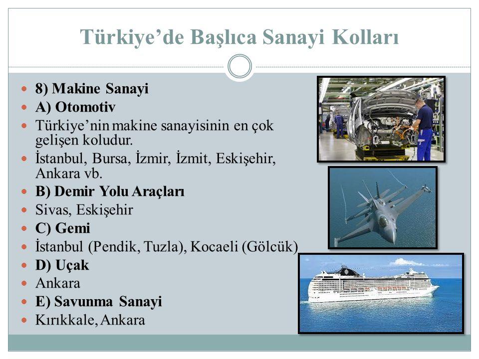 Türkiye'de Başlıca Sanayi Kolları 8) Makine Sanayi A) Otomotiv Türkiye'nin makine sanayisinin en çok gelişen koludur. İstanbul, Bursa, İzmir, İzmit, E