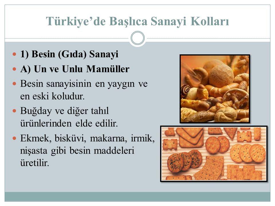 Türkiye'de Başlıca Sanayi Kolları 1) Besin (Gıda) Sanayi A) Un ve Unlu Mamüller Besin sanayisinin en yaygın ve en eski koludur. Buğday ve diğer tahıl