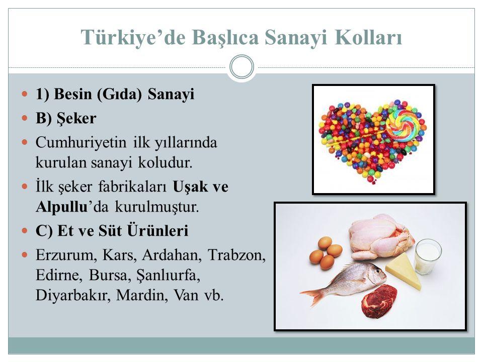 Türkiye'de Başlıca Sanayi Kolları 1) Besin (Gıda) Sanayi B) Şeker Cumhuriyetin ilk yıllarında kurulan sanayi koludur. İlk şeker fabrikaları Uşak ve Al