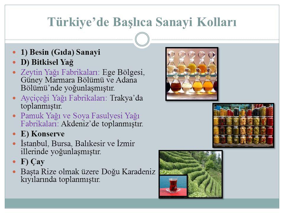 Türkiye'de Başlıca Sanayi Kolları 1) Besin (Gıda) Sanayi D) Bitkisel Yağ Zeytin Yağı Fabrikaları: Ege Bölgesi, Güney Marmara Bölümü ve Adana Bölümü'nd