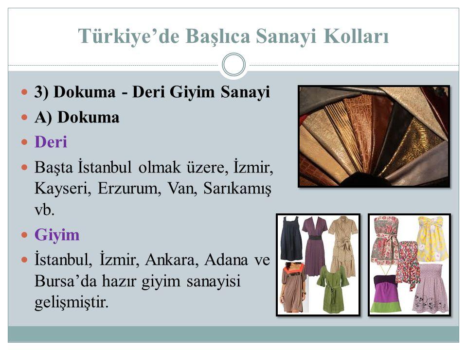 Türkiye'de Başlıca Sanayi Kolları 3) Dokuma - Deri Giyim Sanayi A) Dokuma Deri Başta İstanbul olmak üzere, İzmir, Kayseri, Erzurum, Van, Sarıkamış vb.