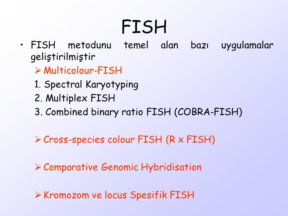 FISH metodunu temel alan bazı uygulamalar geliştirilmiştir  Multicolour-FISH 1. Spectral Karyotyping 2. Multiplex FISH 3. Combined binary ratio FISH