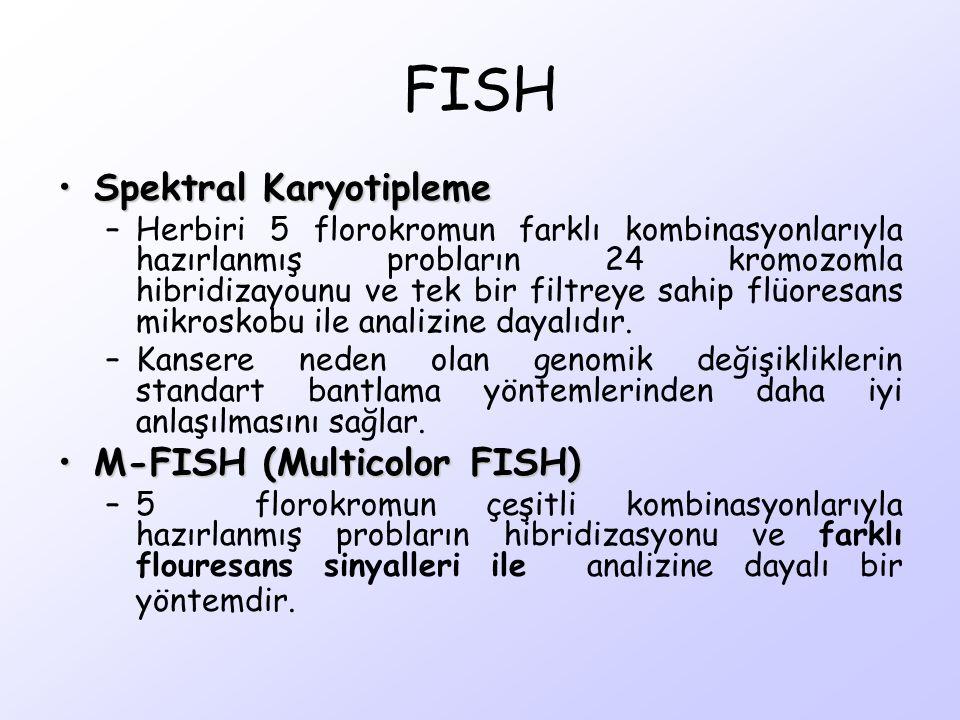 Spektral KaryotiplemeSpektral Karyotipleme –Herbiri 5 florokromun farklı kombinasyonlarıyla hazırlanmış probların 24 kromozomla hibridizayounu ve tek