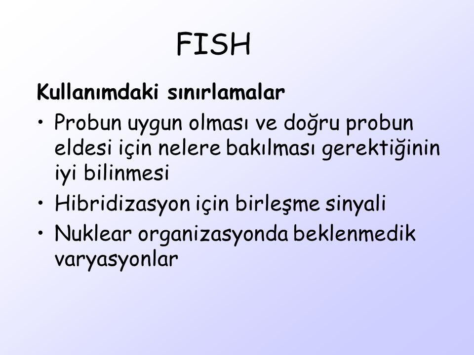 FISH Kullanımdaki sınırlamalar Probun uygun olması ve doğru probun eldesi için nelere bakılması gerektiğinin iyi bilinmesi Hibridizasyon için birleşme