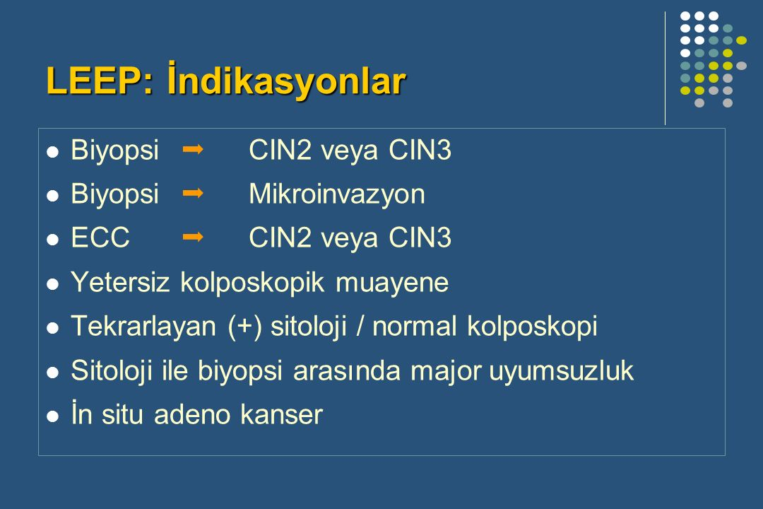 LEEP: İndikasyonlar Biyopsi  CIN2 veya CIN3 Biyopsi  Mikroinvazyon ECC  CIN2 veya CIN3 Yetersiz kolposkopik muayene Tekrarlayan (+) sitoloji / normal kolposkopi Sitoloji ile biyopsi arasında major uyumsuzluk İn situ adeno kanser