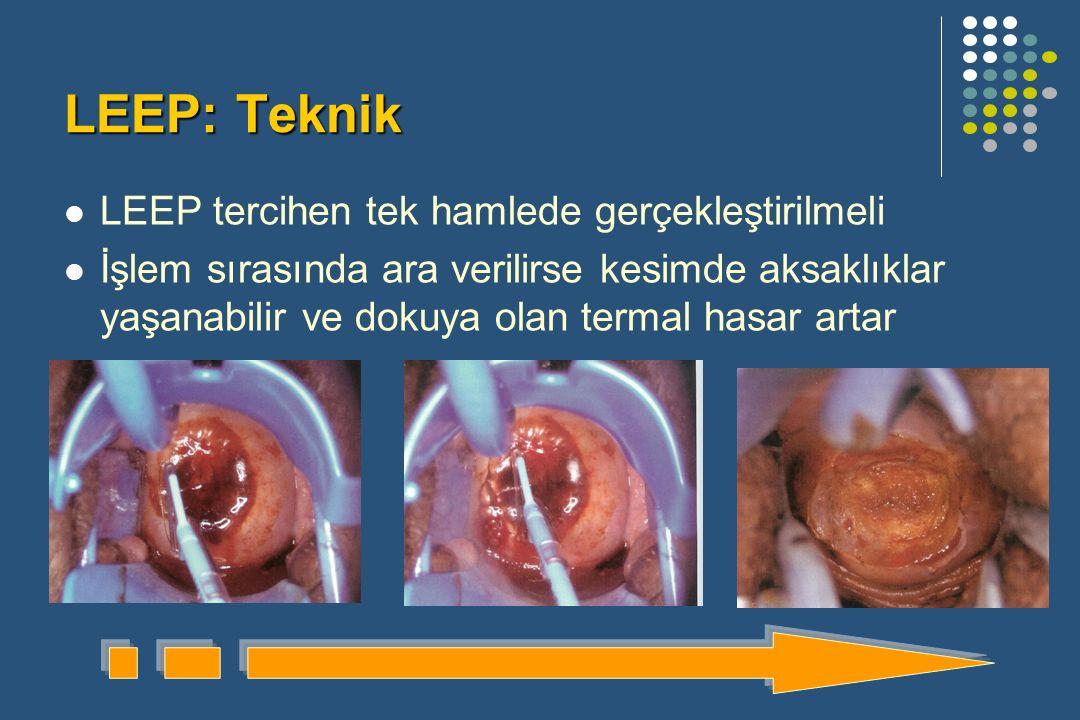 LEEP: Teknik LEEP tercihen tek hamlede gerçekleştirilmeli İşlem sırasında ara verilirse kesimde aksaklıklar yaşanabilir ve dokuya olan termal hasar artar