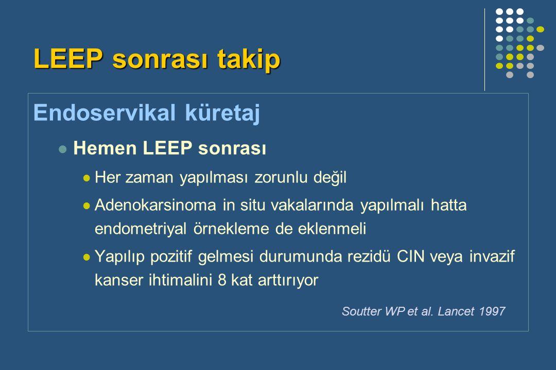 LEEP sonrası takip Endoservikal küretaj Hemen LEEP sonrası Her zaman yapılması zorunlu değil Adenokarsinoma in situ vakalarında yapılmalı hatta endometriyal örnekleme de eklenmeli Yapılıp pozitif gelmesi durumunda rezidü CIN veya invazif kanser ihtimalini 8 kat arttırıyor Soutter WP et al.