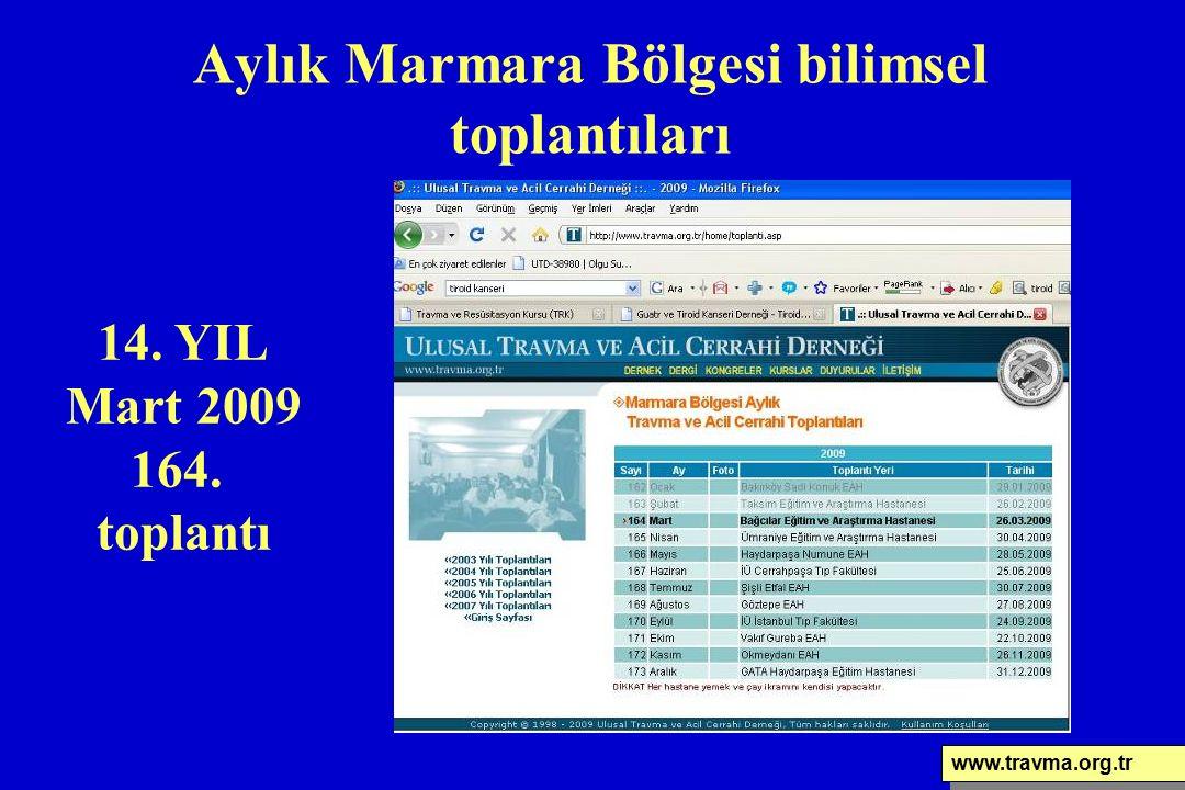 Aylık Marmara Bölgesi bilimsel toplantıları www.travma.org.tr 14. YIL Mart 2009 164. toplantı