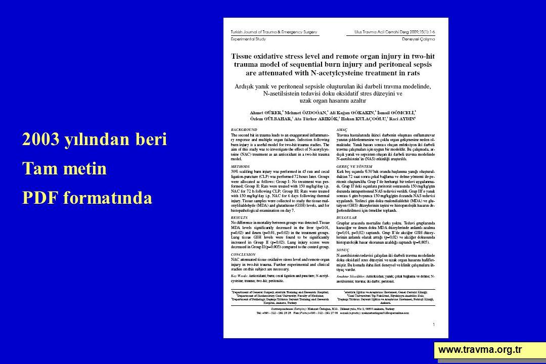 www.travma.org.tr 2003 yılından beri Tam metin PDF formatında