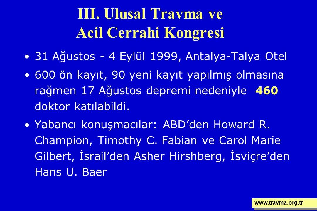 III. Ulusal Travma ve Acil Cerrahi Kongresi 31 Ağustos - 4 Eylül 1999, Antalya-Talya Otel 600 ön kayıt, 90 yeni kayıt yapılmış olmasına rağmen 17 Ağus