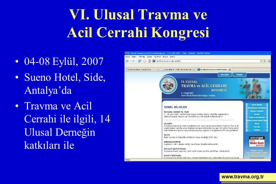 VI. Ulusal Travma ve Acil Cerrahi Kongresi 04-08 Eylül, 2007 Sueno Hotel, Side, Antalya'da Travma ve Acil Cerrahi ile ilgili, 14 Ulusal Derneğin katkı