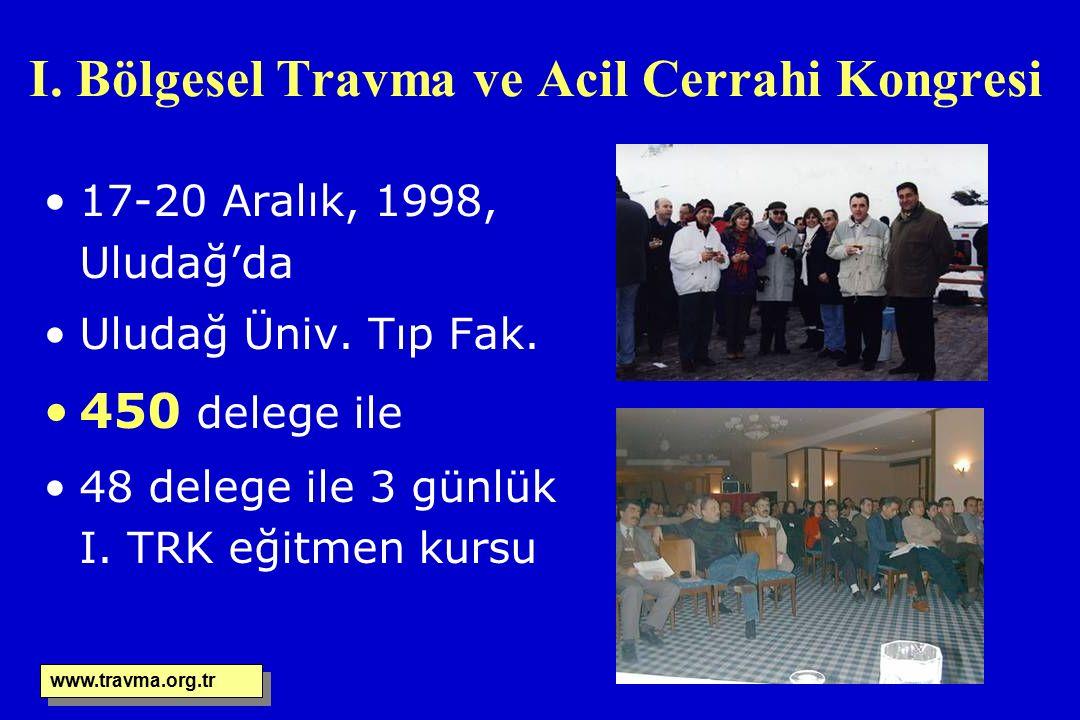 I. Bölgesel Travma ve Acil Cerrahi Kongresi 17-20 Aralık, 1998, Uludağ'da Uludağ Üniv. Tıp Fak. 450 delege ile 48 delege ile 3 günlük I. TRK eğitmen k