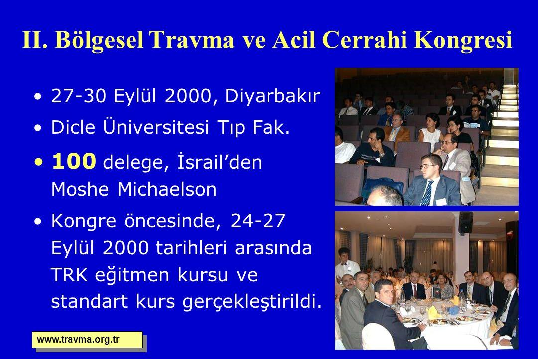II. Bölgesel Travma ve Acil Cerrahi Kongresi 27-30 Eylül 2000, Diyarbakır Dicle Üniversitesi Tıp Fak. 100 delege, İsrail'den Moshe Michaelson Kongre ö