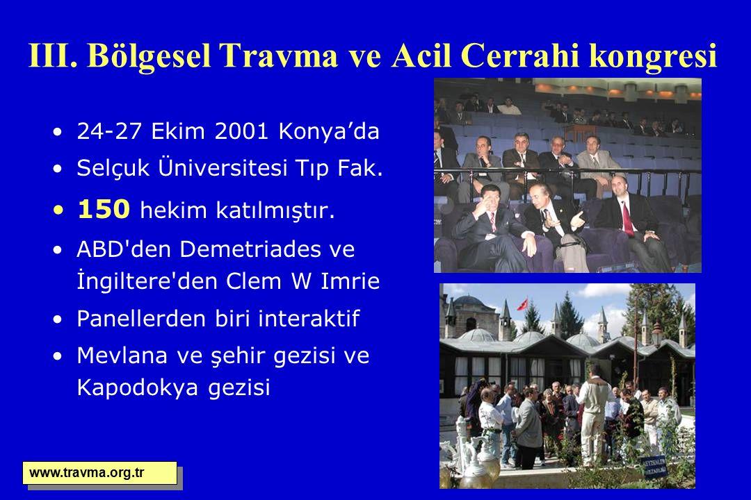 III. Bölgesel Travma ve Acil Cerrahi kongresi 24-27 Ekim 2001 Konya'da Selçuk Üniversitesi Tıp Fak. 150 hekim katılmıştır. ABD'den Demetriades ve İngi