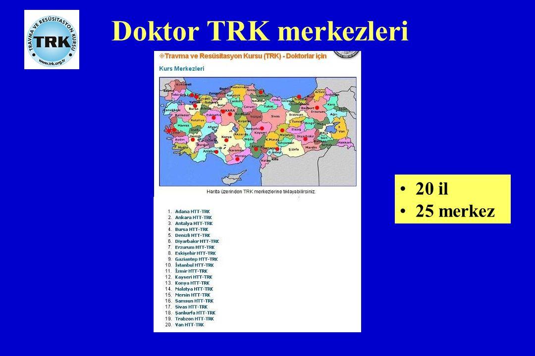 Doktor TRK merkezleri 20 il 25 merkez