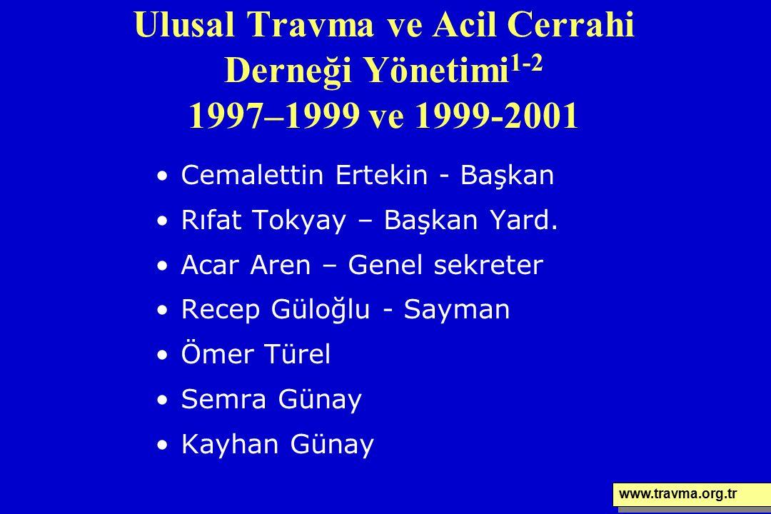 Ulusal Travma ve Acil Cerrahi Derneği Yönetimi 1-2 1997–1999 ve 1999-2001 Cemalettin Ertekin - Başkan Rıfat Tokyay – Başkan Yard. Acar Aren – Genel se