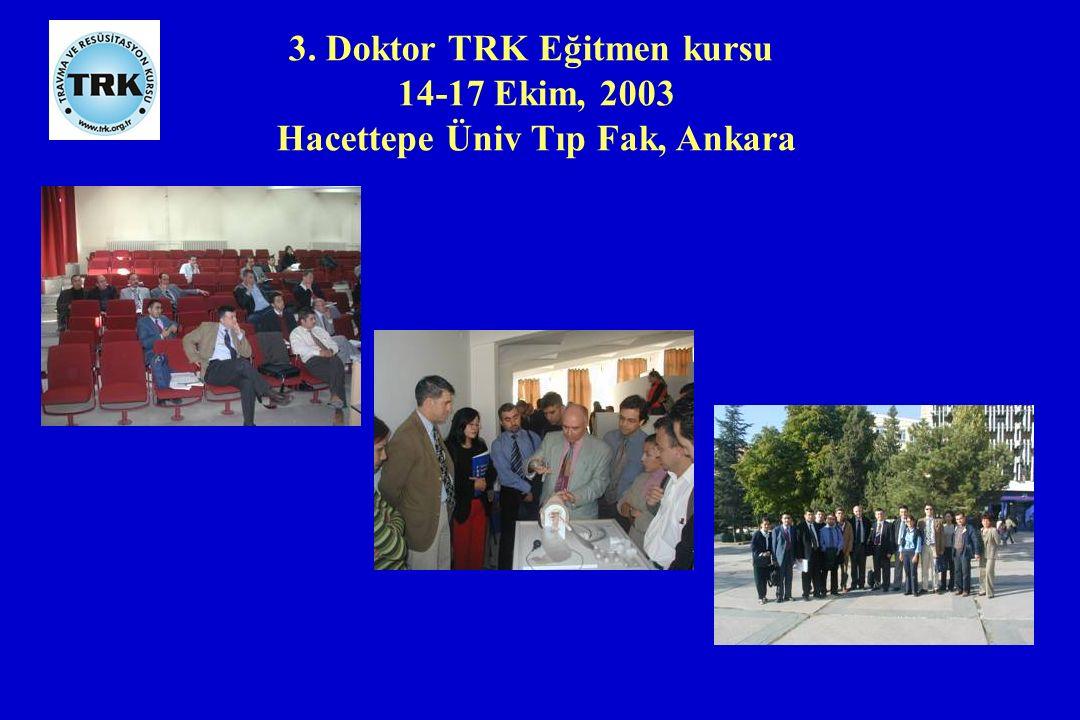 3. Doktor TRK Eğitmen kursu 14-17 Ekim, 2003 Hacettepe Üniv Tıp Fak, Ankara