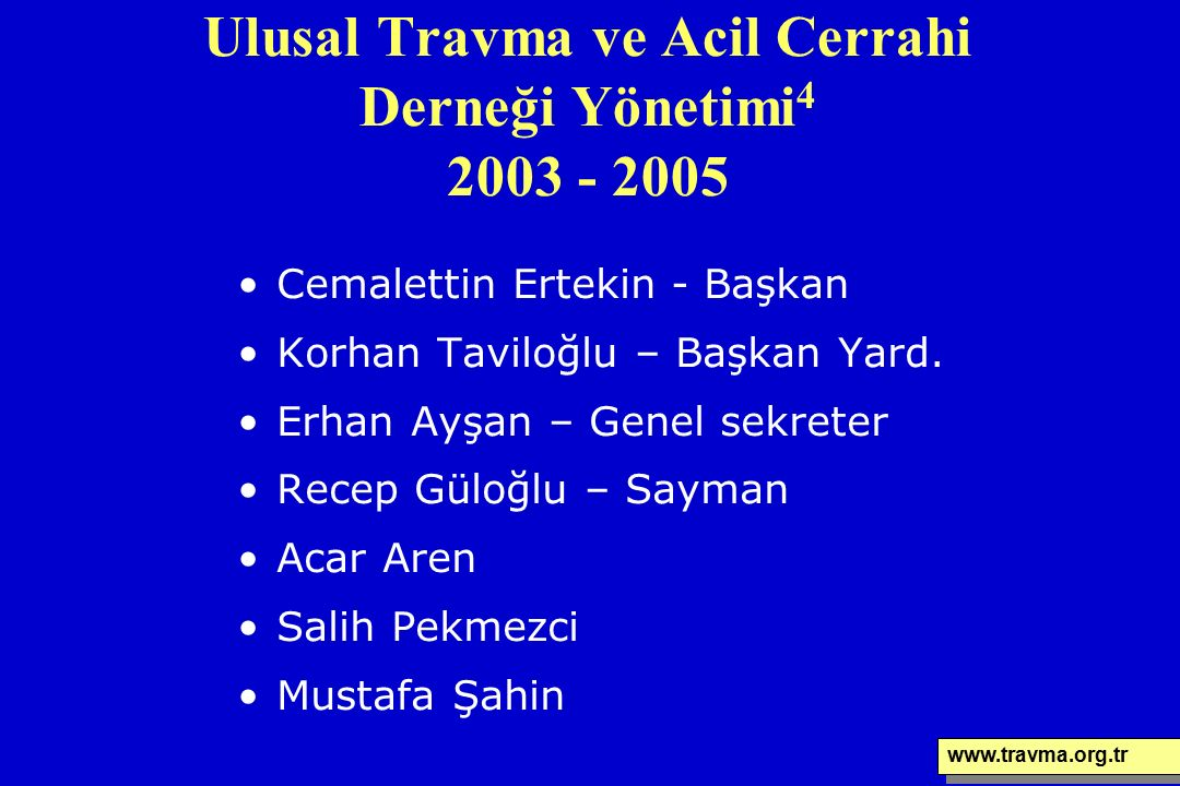 Ulusal Travma ve Acil Cerrahi Derneği Yönetimi 4 2003 - 2005 Cemalettin Ertekin - Başkan Korhan Taviloğlu – Başkan Yard. Erhan Ayşan – Genel sekreter