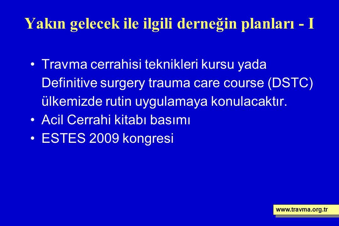 Yakın gelecek ile ilgili derneğin planları - I Travma cerrahisi teknikleri kursu yada Definitive surgery trauma care course (DSTC) ülkemizde rutin uyg