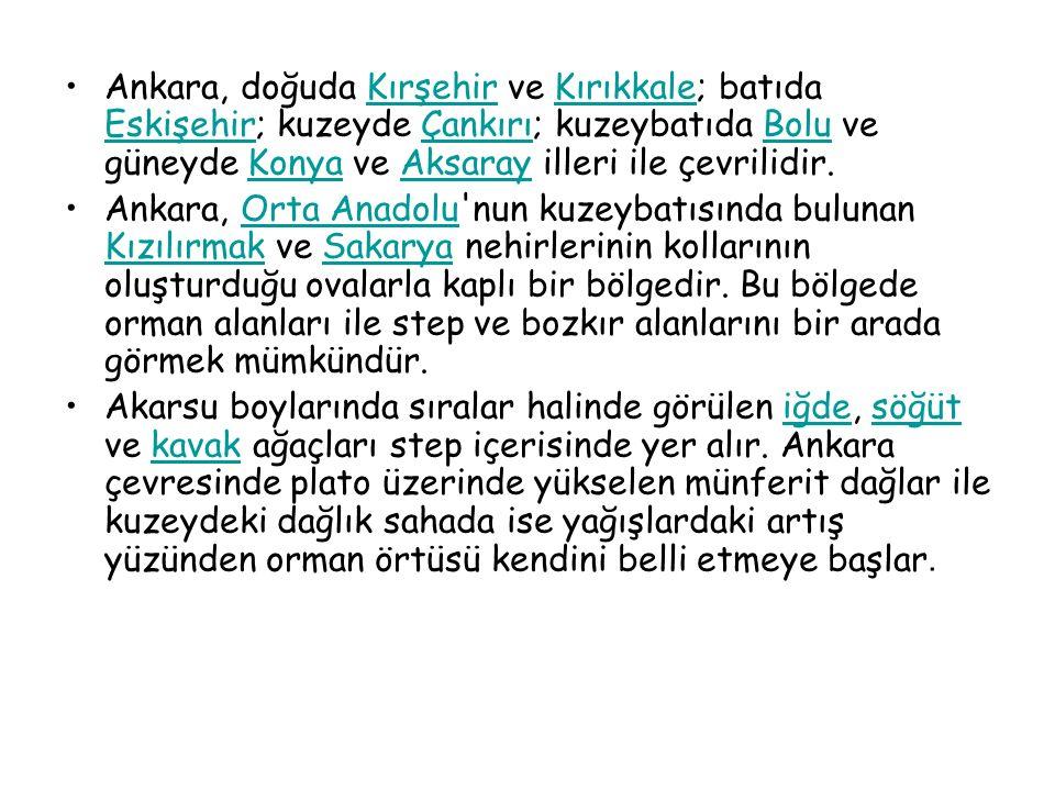 Ankara, doğuda Kırşehir ve Kırıkkale; batıda Eskişehir; kuzeyde Çankırı; kuzeybatıda Bolu ve güneyde Konya ve Aksaray illeri ile çevrilidir.KırşehirKı