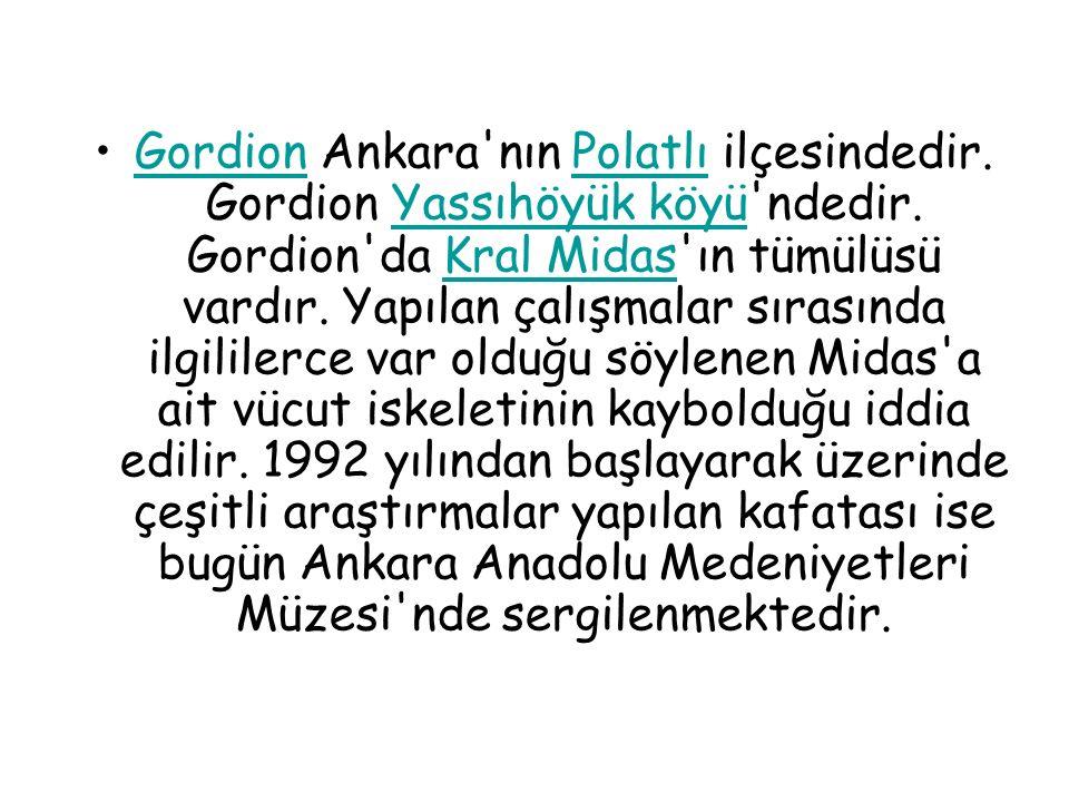 Gordion Ankara'nın Polatlı ilçesindedir. Gordion Yassıhöyük köyü'ndedir. Gordion'da Kral Midas'ın tümülüsü vardır. Yapılan çalışmalar sırasında ilgili