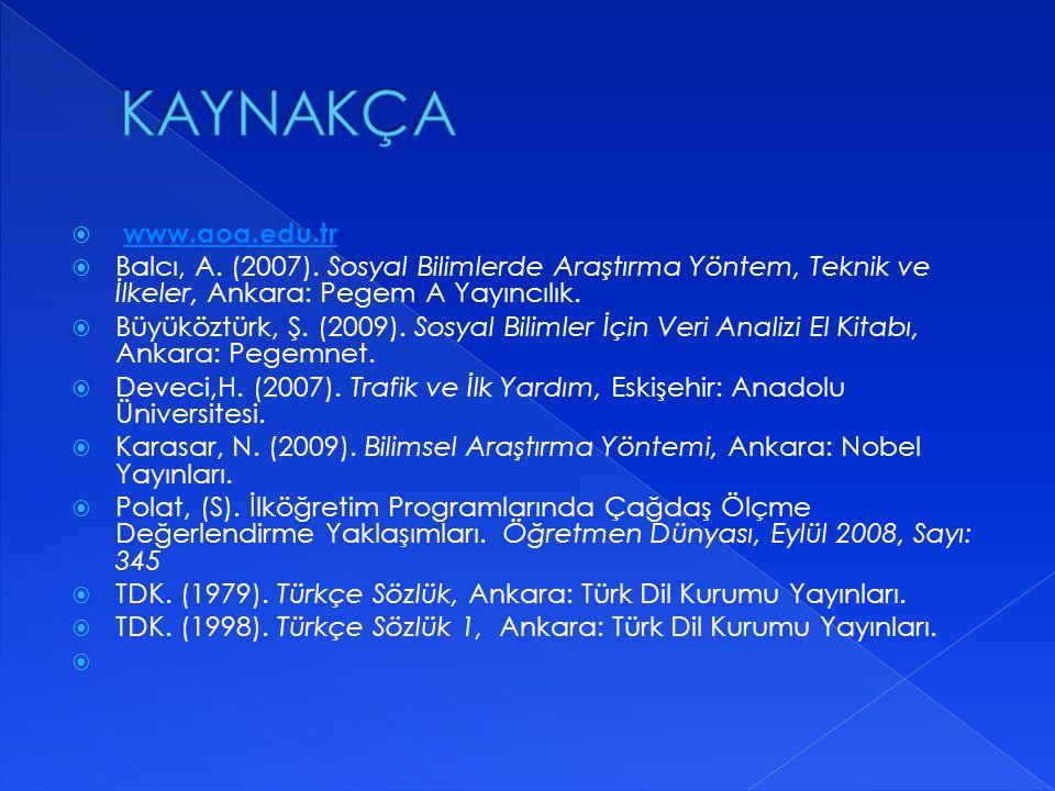  www.aoa.edu.trwww.aoa.edu.tr  Balcı, A. (2007). Sosyal Bilimlerde Araştırma Yöntem, Teknik ve İlkeler, Ankara: Pegem A Yayıncılık.  Büyüköztürk, Ş