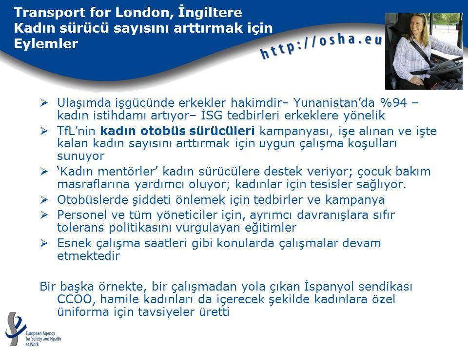 Transport for London, İngiltere Kadın sürücü sayısını arttırmak için Eylemler  Ulaşımda işgücünde erkekler hakimdir– Yunanistan'da %94 – kadın istihdamı artıyor– İSG tedbirleri erkeklere yönelik  TfL'nin kadın otobüs sürücüleri kampanyası, işe alınan ve işte kalan kadın sayısını arttırmak için uygun çalışma koşulları sunuyor  'Kadın mentörler' kadın sürücülere destek veriyor; çocuk bakım masraflarına yardımcı oluyor; kadınlar için tesisler sağlıyor.