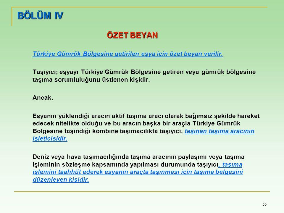 55 BÖLÜM IV ÖZET BEYAN Türkiye Gümrük Bölgesine getirilen eşya için özet beyan verilir.