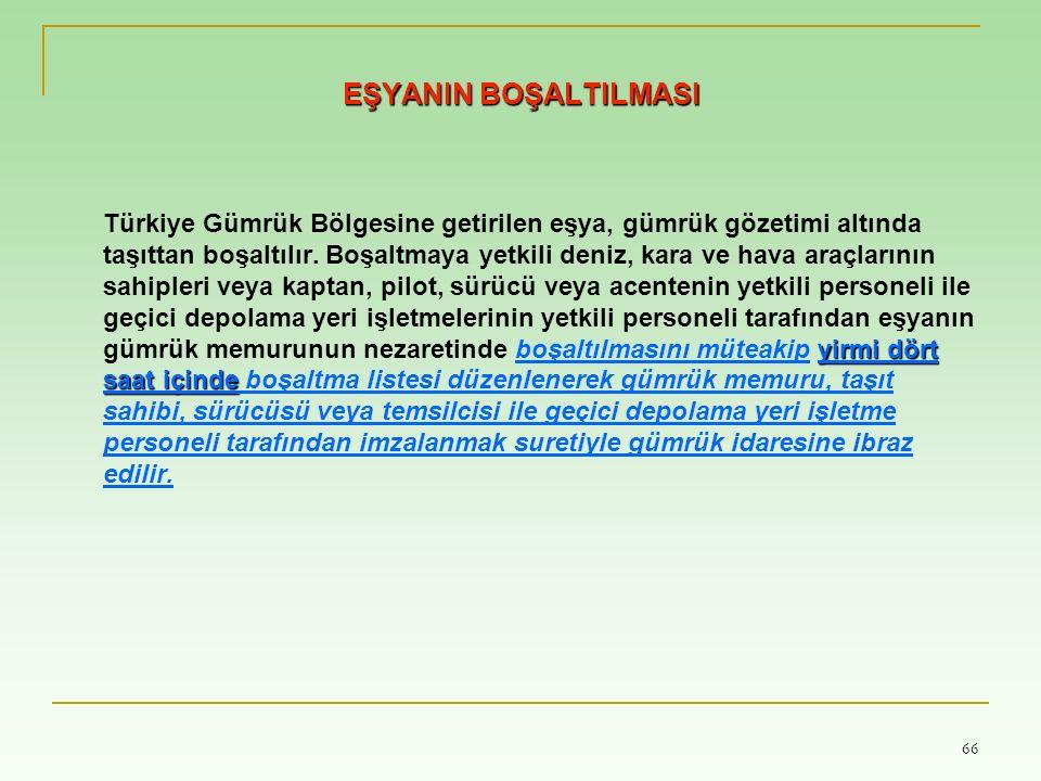 66 EŞYANIN BOŞALTILMASI yirmi dört saat içinde Türkiye Gümrük Bölgesine getirilen eşya, gümrük gözetimi altında taşıttan boşaltılır.