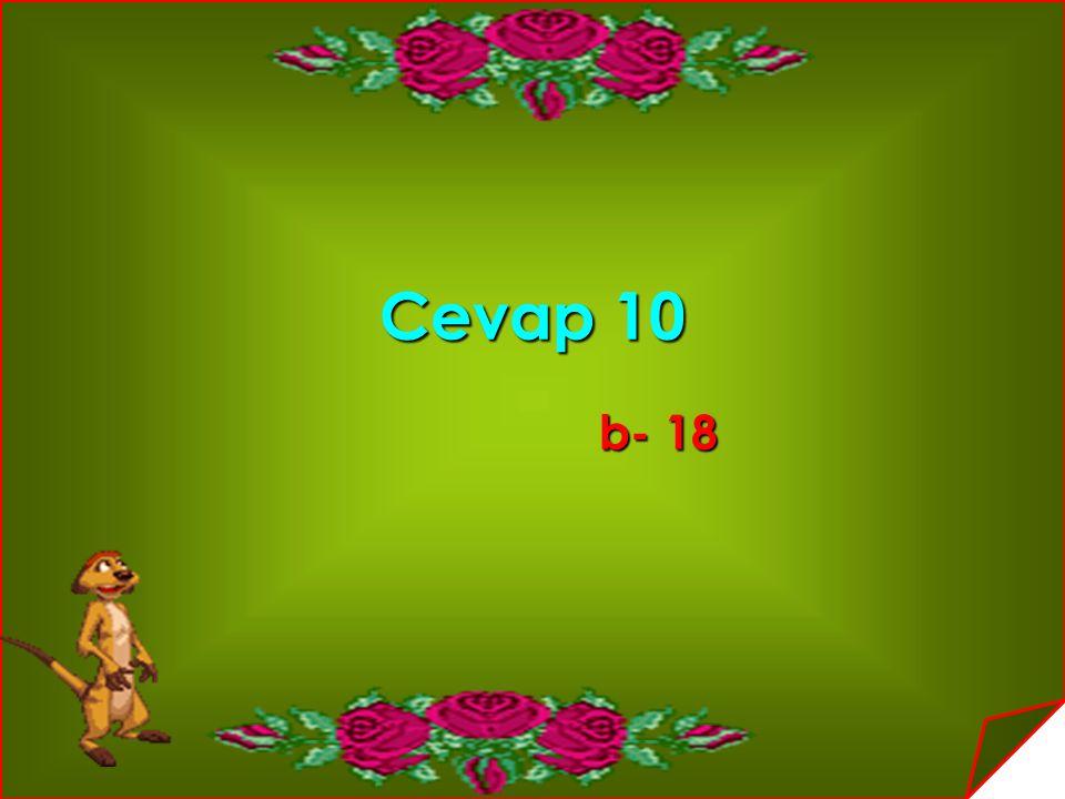 Cevap 10 b- 18 b- 18
