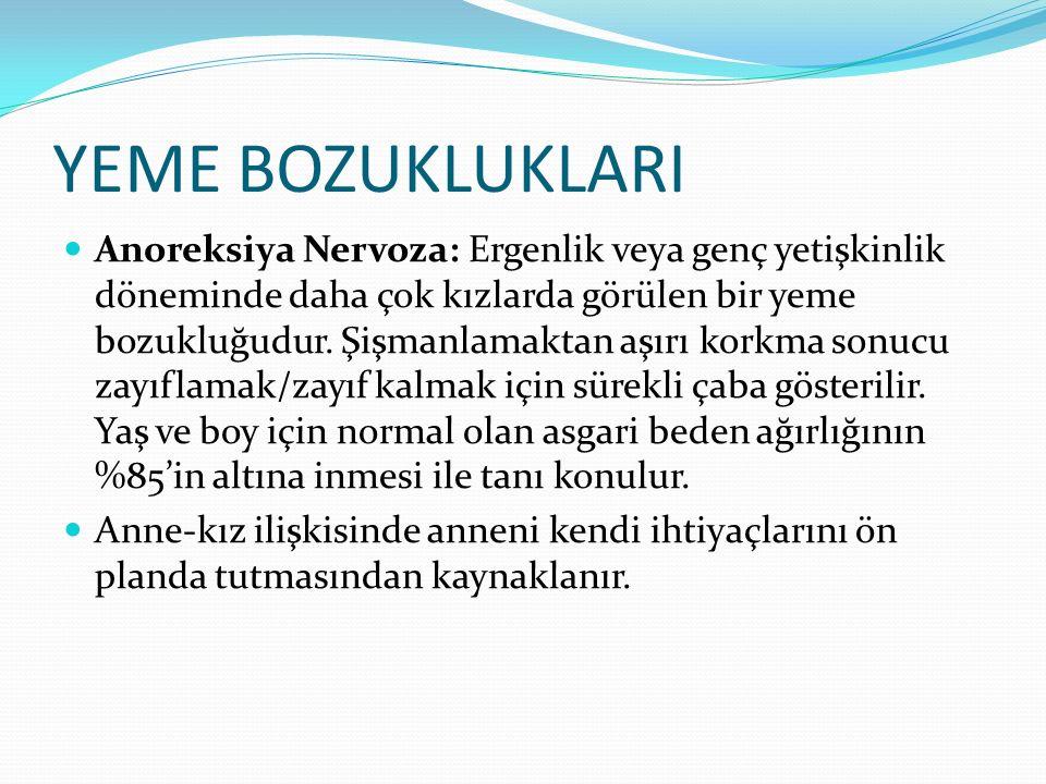 YEME BOZUKLUKLARI Anoreksiya Nervoza: Ergenlik veya genç yetişkinlik döneminde daha çok kızlarda görülen bir yeme bozukluğudur.