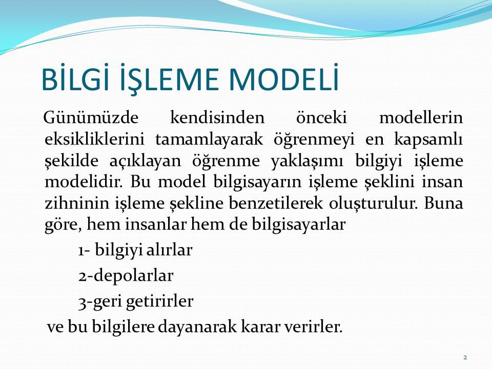 BİLGİ İŞLEME MODELİ Günümüzde kendisinden önceki modellerin eksikliklerini tamamlayarak öğrenmeyi en kapsamlı şekilde açıklayan öğrenme yaklaşımı bilgiyi işleme modelidir.
