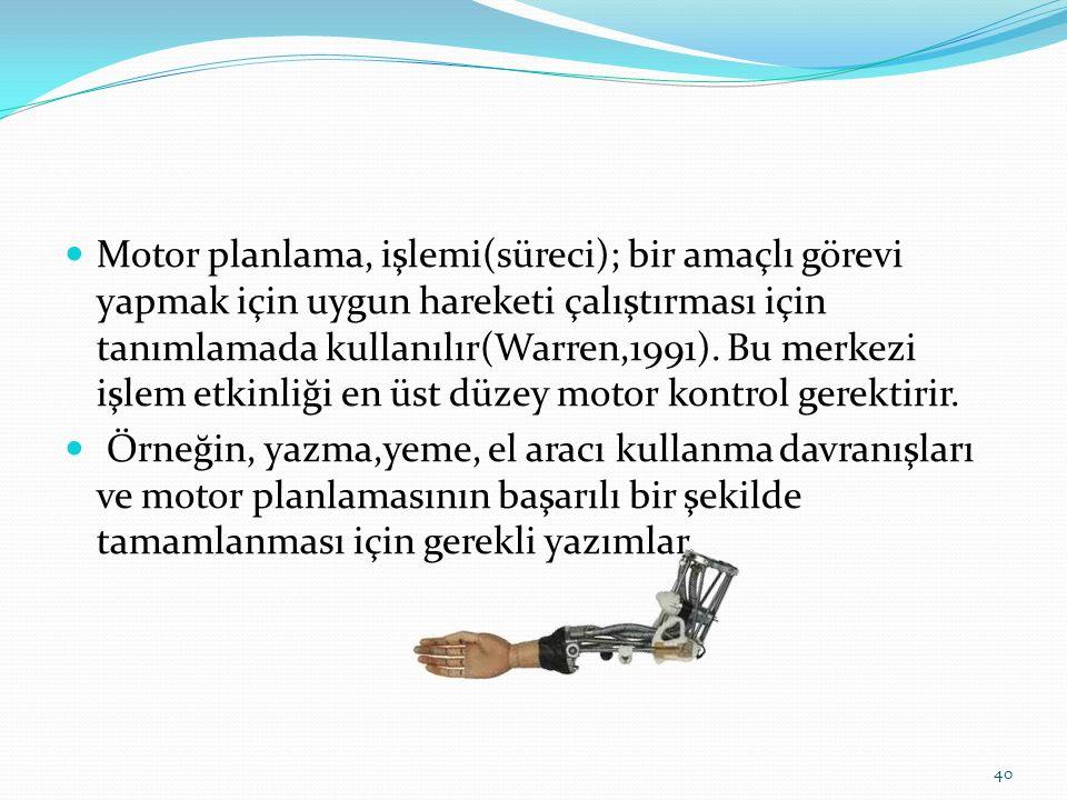 Motor planlama, işlemi(süreci); bir amaçlı görevi yapmak için uygun hareketi çalıştırması için tanımlamada kullanılır(Warren,1991).