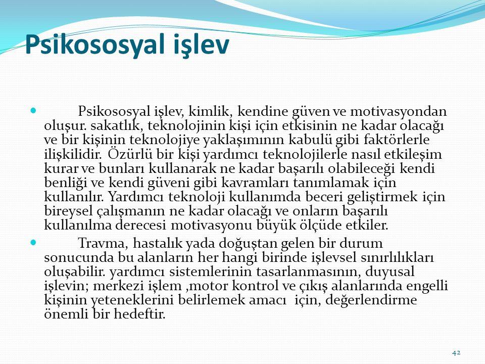 Psikososyal işlev Psikososyal işlev, kimlik, kendine güven ve motivasyondan oluşur.