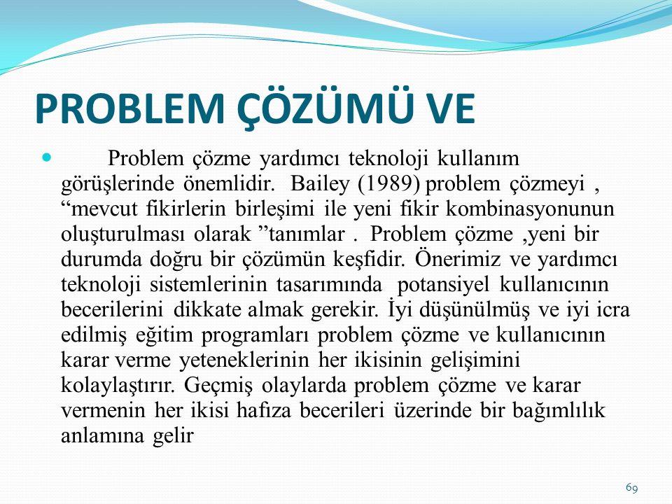 PROBLEM ÇÖZÜMÜ VE Problem çözme yardımcı teknoloji kullanım görüşlerinde önemlidir.