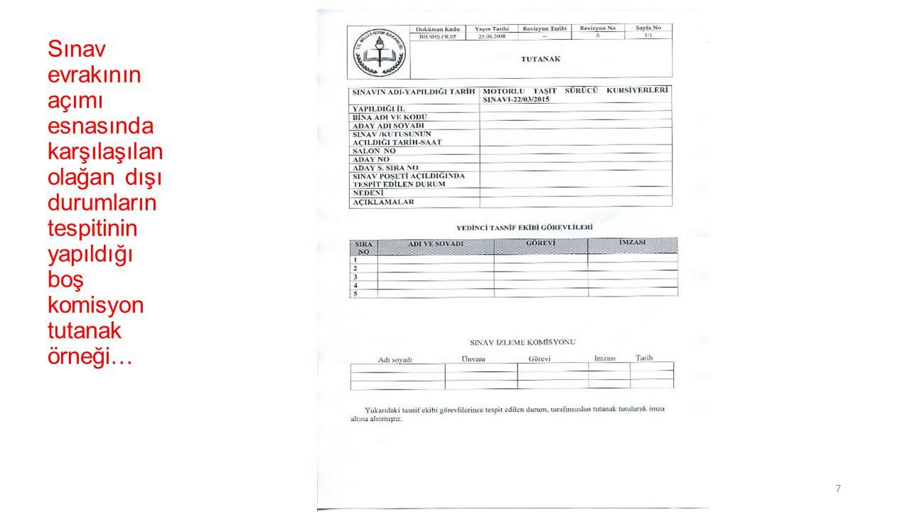 MEB Merkezi Sistem Sınav Yönergesinin Sınavın Geçersiz Sayıldığı üst başlıklı, 21.
