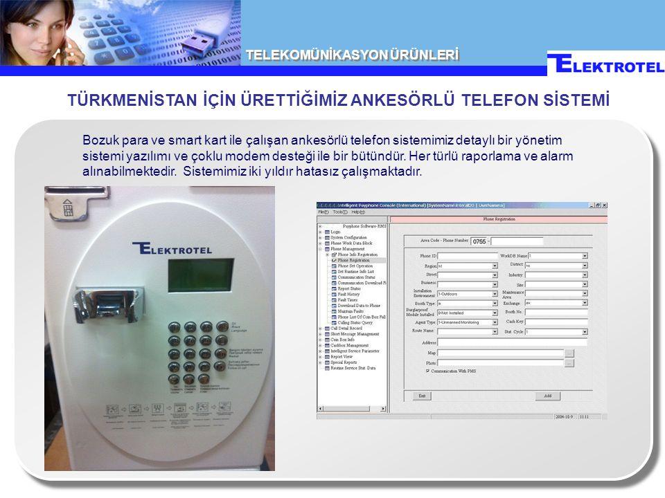TELEKOMÜNİKASYON ÜRÜNLERİ Bozuk para ve smart kart ile çalışan ankesörlü telefon sistemimiz detaylı bir yönetim sistemi yazılımı ve çoklu modem desteği ile bir bütündür.