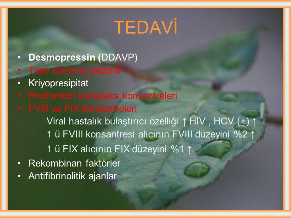 Tanı Kanama zamanı, Protrombin zamanı Normal Trombosit sayısı FVIII veya FIX ↓