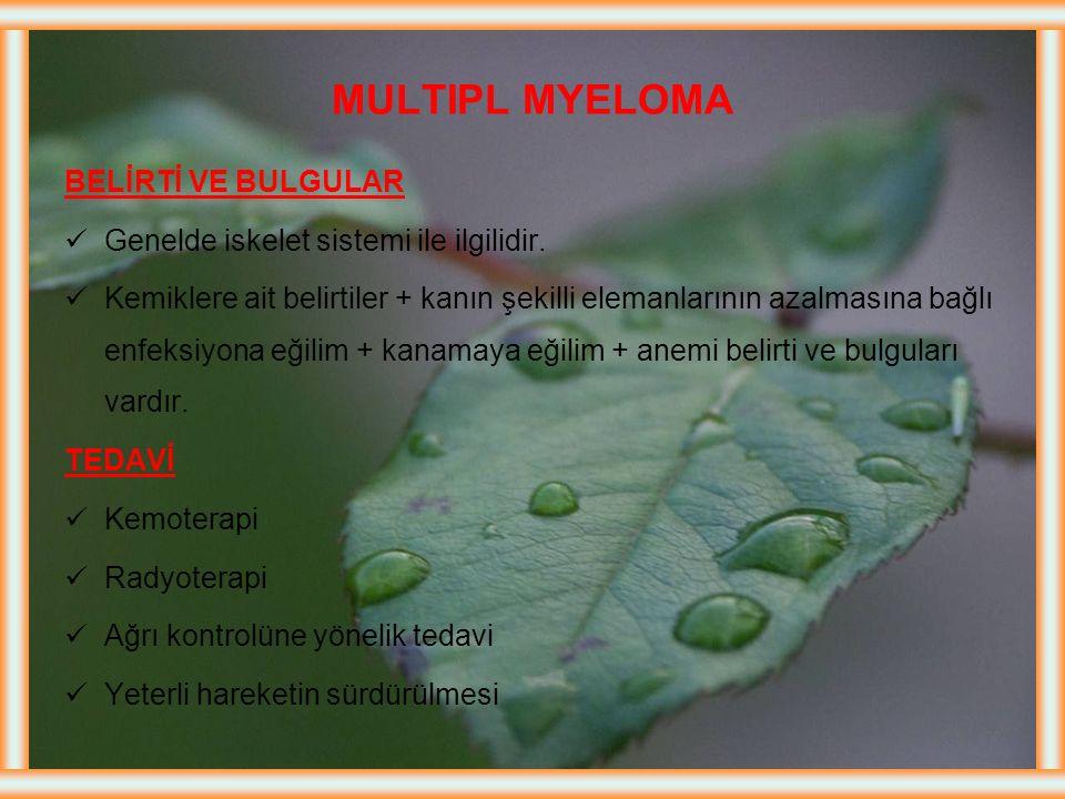 MULTIPL MYELOMA Tanım: Plazma hücrelerinin anormal proliferasyonudur Normalde kemik iliğinde plazma hücreleri %5 kadardır, MM'de %30-95 kadardır Kemik