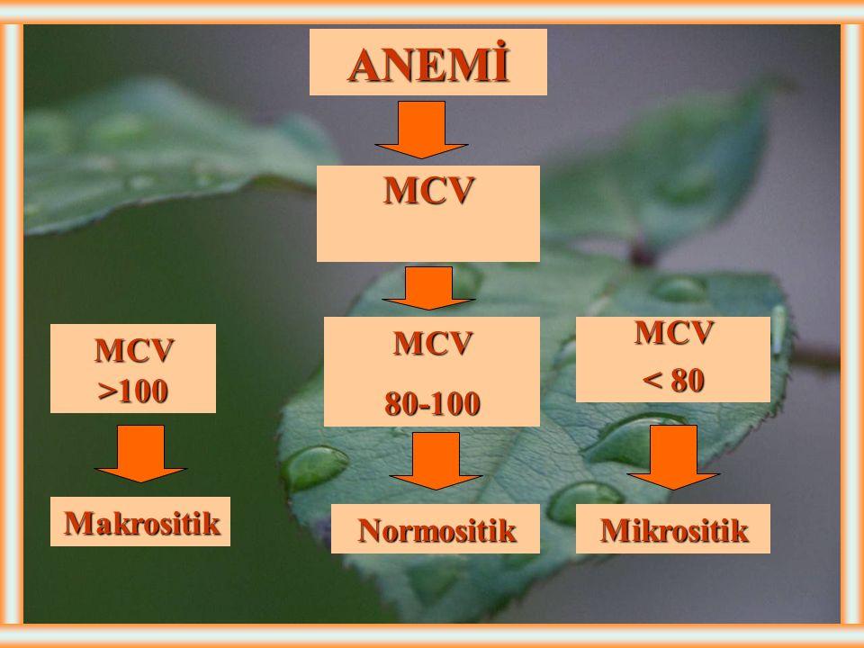 ERİTROSİT SAYISI İNDEKSLERİ-1 MCV (Ortalama eritrosit hacmi): (80-100 fl). Anemilerin sınıflamasındaki en faydalı parametredir. MCH (Ortalama eritrosi