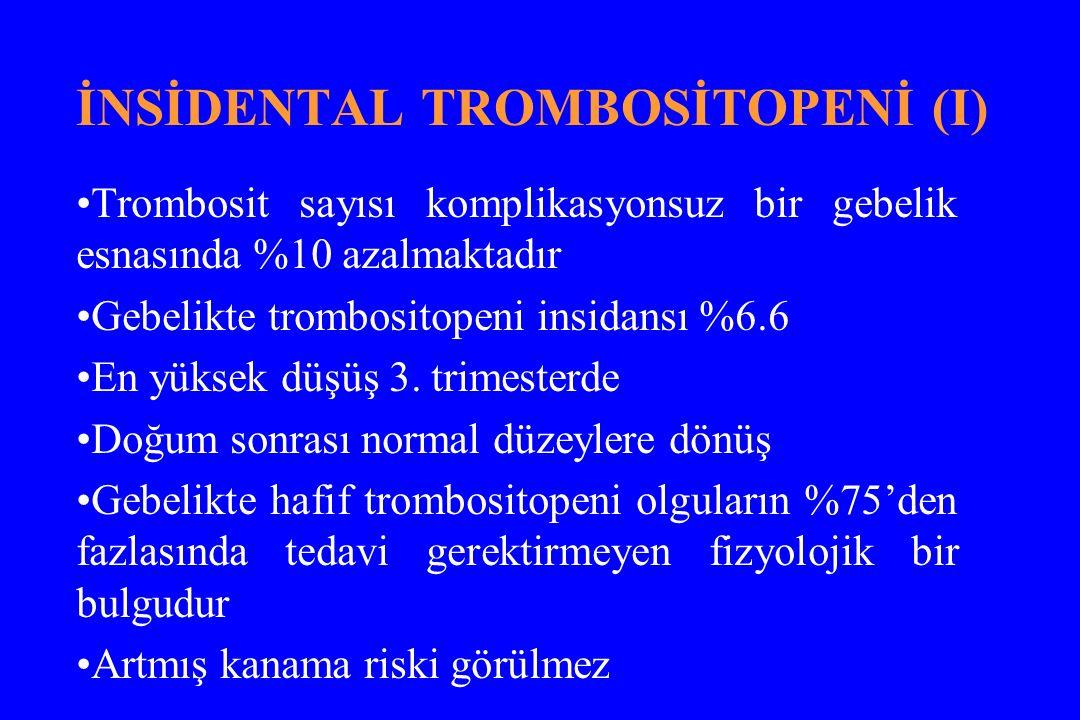 İNSİDENTAL TROMBOSİTOPENİ (I) Trombosit sayısı komplikasyonsuz bir gebelik esnasında %10 azalmaktadır Gebelikte trombositopeni insidansı %6.6 En yüksek düşüş 3.