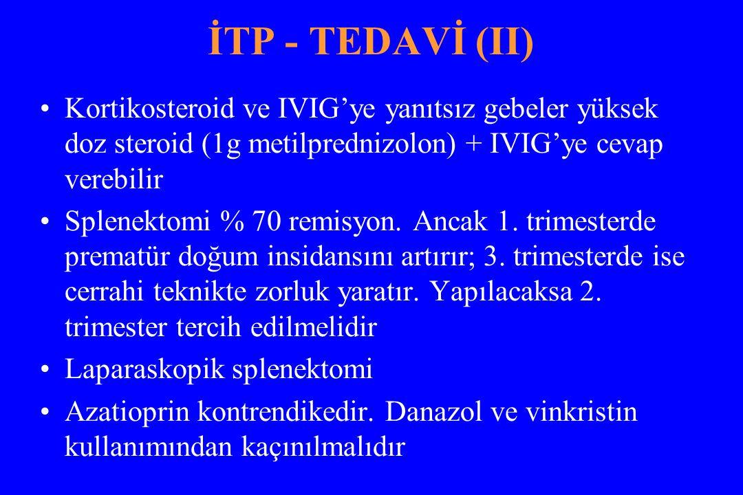 İTP - TEDAVİ (II) Kortikosteroid ve IVIG'ye yanıtsız gebeler yüksek doz steroid (1g metilprednizolon) + IVIG'ye cevap verebilir Splenektomi % 70 remisyon.