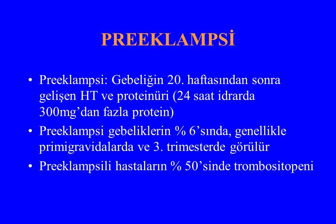 PREEKLAMPSİ Preeklampsi: Gebeliğin 20.