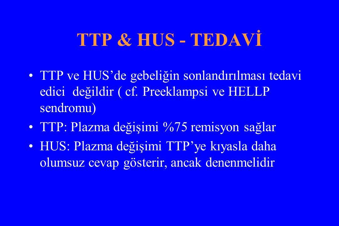 TTP & HUS - TEDAVİ TTP ve HUS'de gebeliğin sonlandırılması tedavi edici değildir ( cf.