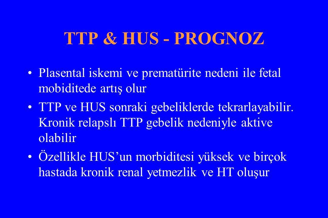 TTP & HUS - PROGNOZ Plasental iskemi ve prematürite nedeni ile fetal mobiditede artış olur TTP ve HUS sonraki gebeliklerde tekrarlayabilir.