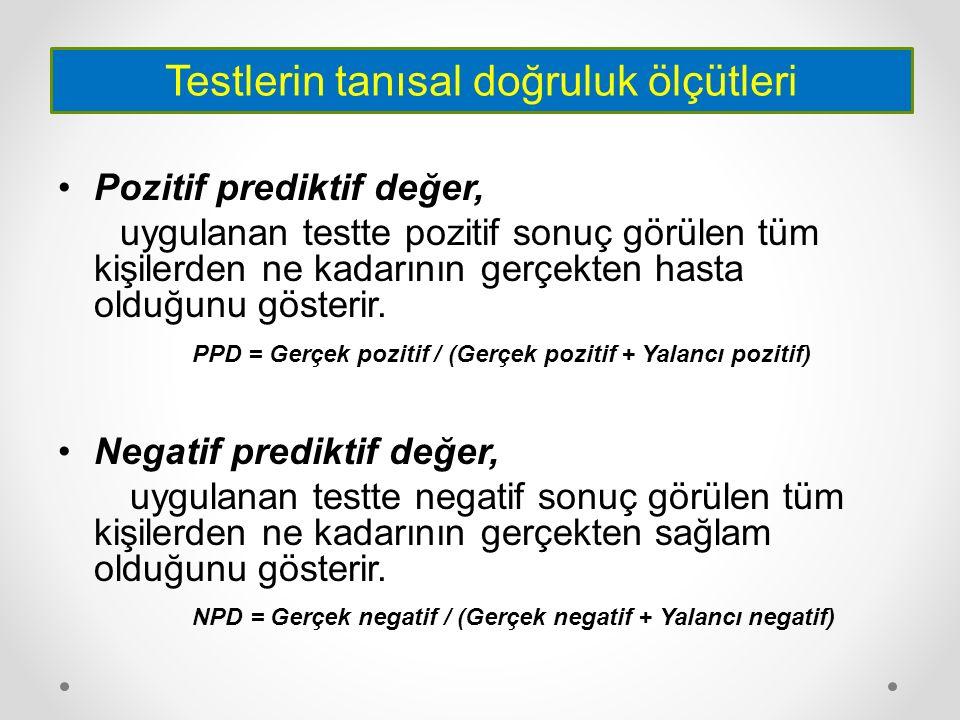 Pozitif prediktif değer, uygulanan testte pozitif sonuç görülen tüm kişilerden ne kadarının gerçekten hasta olduğunu gösterir. PPD = Gerçek pozitif /