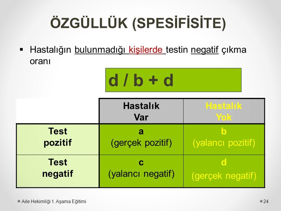 ÖZGÜLLÜK (SPESİFİSİTE)  Hastalığın bulunmadığı kişilerde testin negatif çıkma oranı Hastalık Var Hastalık Yok Test pozitif a (gerçek pozitif) b (yala