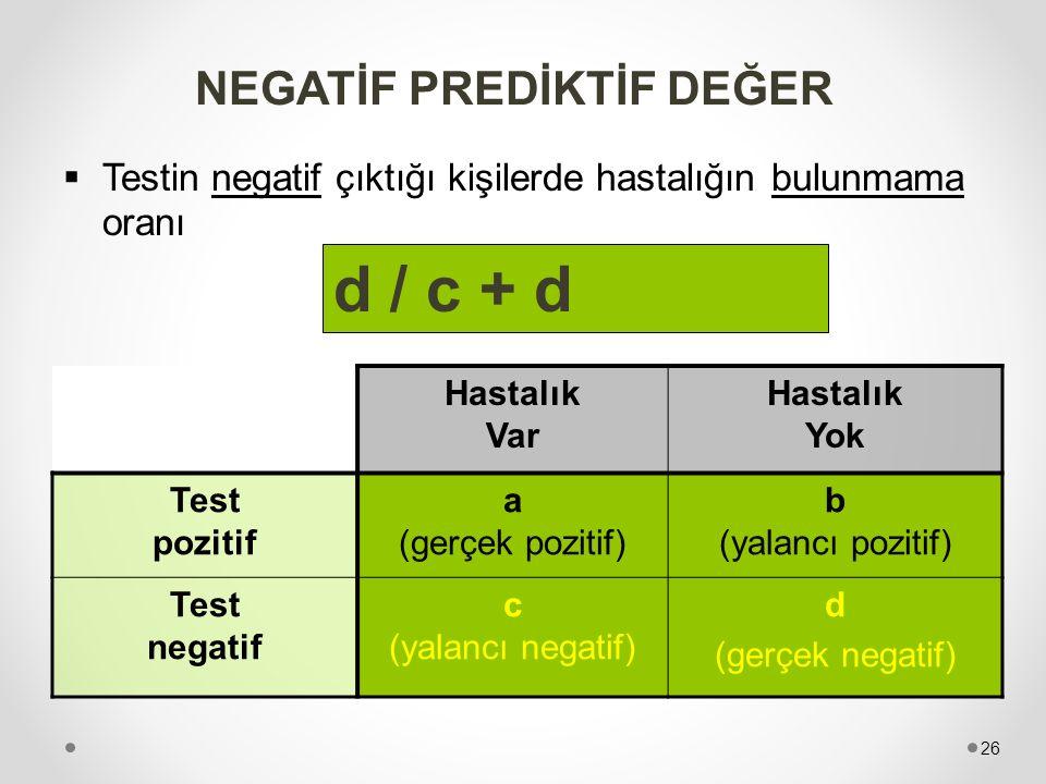 NEGATİF PREDİKTİF DEĞER  Testin negatif çıktığı kişilerde hastalığın bulunmama oranı Hastalık Var Hastalık Yok Test pozitif a (gerçek pozitif) b (yal